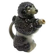 Majolica Black Poodle Dog Teapot German c.1920-30's