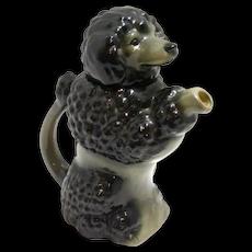 Majolica Black Poodle Dog Teapot German c.1920-30's