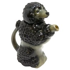 Majolica Black Poodle Dog Teapot West Germany