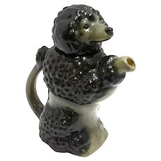 Vintage Majolica Black Poodle Teapot