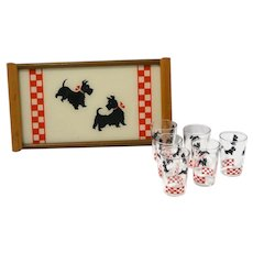 Vintage Scottie Tray and Matching Glass Set c. 1950's