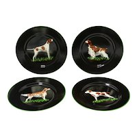 Set of Four Tiffany & Co. Porcelain Decorative Plates with Hunting Dogs