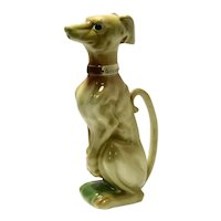 Large Vintage Majolica Greyhound Dog Pitcher