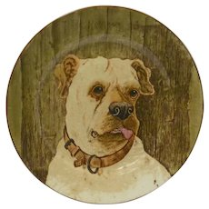 Antique Porcelain Mastiff Dog Portrait Plate c.1905 - 1910
