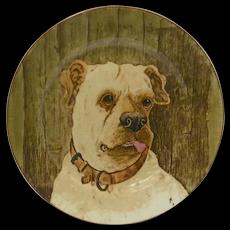 Antique Porcelain Mastiff Dog Portrait Plate c.1905 - 1910