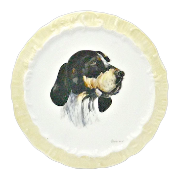 Antique Hand-Painted Dish with English Pointer Portrait