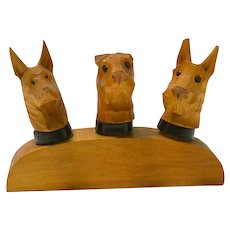 Hand-Carved Wood Dog Head Bottle Stoppers Germany