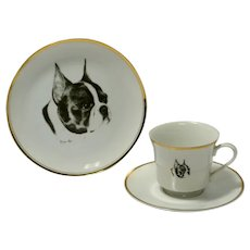 Boston Terrier Dessert Plate, Cup & Saucer Set