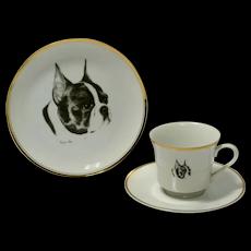 Boston Terrier Dessert Plate, Cup & Saucer Set