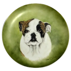 Hand-Painted English Bulldog Portrait Plate