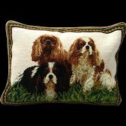 Cavalier King Charles Spaniel Trio Needlepoint Pillow