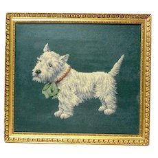 Vintage Needlepoint Westie or Scottie Framed c.1960