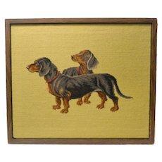 Vintage Needlepoint Dachshund Dog Pair Framed