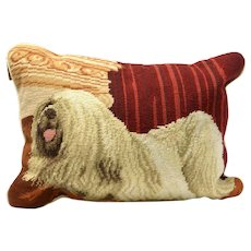 Vintage Shih Tzu Needlepoint Pillow