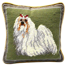 Vintage Shih Tzu Needlepoint Pillow