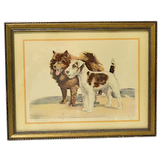 """""""Attention"""" Diana Thorne Signed Dog Print c.1936"""