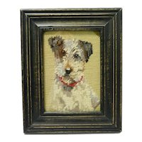 Vintage Needlepoint Fox Terrier Portrait
