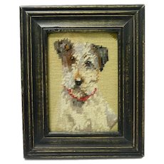 Vintage Needlepoint Fox Terrier Portrait