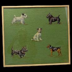 Five Dog Needlepoint Framed