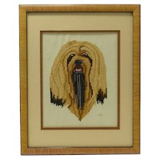 Lhasa Apso Needlepoint Portrait Framed c.1984