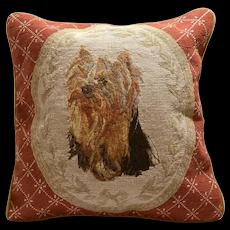 Yorkshire Terrier Needlepoint/Petit Point Pillow