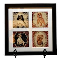 Four Vintage Needlepoint Dog Portraits Framed
