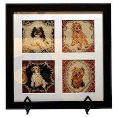 Four Vintage Needlepoint Dog Portraits Framed