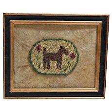 Vintage Folk Art Needlework Dog Framed