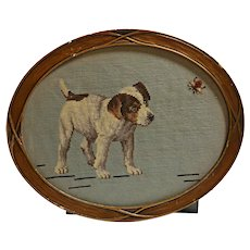 Antique Needlepoint Dog with Bee 1934