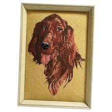 Vintage Needlepoint Irish Setter Dog Framed c.1960's