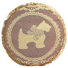 Vintage Hand Crocheted Scottish Terrier Dog Doily