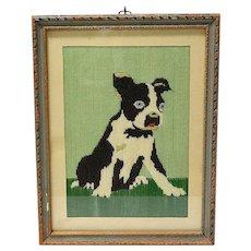 Vintage Boston Terrier Pup Needlepoint c.1932