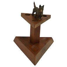 Vintage Blecher Walnut Pipe Stand with Bronze Scottish Terrier Dog