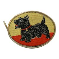 Vintage Scottish Terrier Dog Embroidered Measuring Tape W. Germany