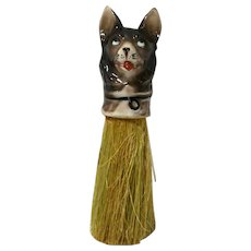 Vintage Clothing Brush with Porcelain German Shepherd Dog Head Germany c. 1920's - 1930's