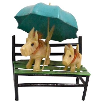 Vintage Miniature Celluloid Scotty Figurines on Park Bench c. 1930's