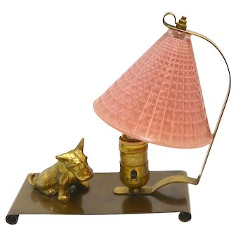 Vintage Brass and Glass Scottie Dog Lamp c.1940's