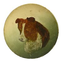 Very Old Hand Painted Metal Plate Dog Portrait
