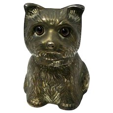 Vintage Metal Terrier Dog Bank With Glass Eyes