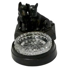 Art Deco Spelter Metal and Cut Glass Scottish Terrier Pair Trinket Dish c.1920's