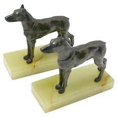 Art Deco Doberman Pinschers on Marble Base Bookends c. 1930's