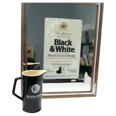 Black & White Scotch Framed Mirror and Pitcher Set