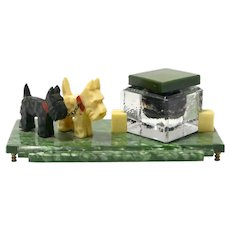 Art Deco Inkwell with Scottish Terrier Dogs
