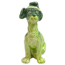French Majolica Comical Dog with Hat