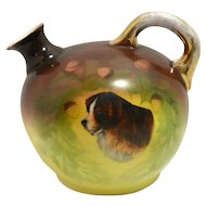 Antique Vienna Austria Jug/Pitcher with St. Bernard Dog Portrait c.1890 - 1895