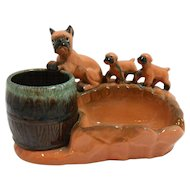 Vintage Japan Pottery Mother Boxer Dog and Puppies Ashtray c. 1950's