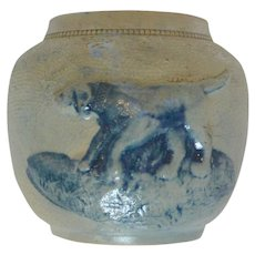 White's Utica Salt Glaze Pottery Jar with Blue Dog c. 1860