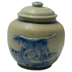 White's Utica Salt Glaze Pottery Jar Blue Dog c. 1860