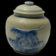 White's Utica Salt Glaze Pottery Jar Blue Dog c. 1860