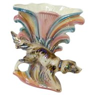 Vintage Italian Irridescent Large Vase with Springer Spaniel Dog